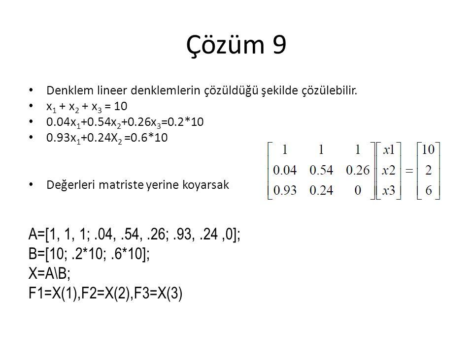 Çözüm 9 A=[1, 1, 1; .04, .54, .26; .93, .24 ,0]; B=[10; .2*10; .6*10];